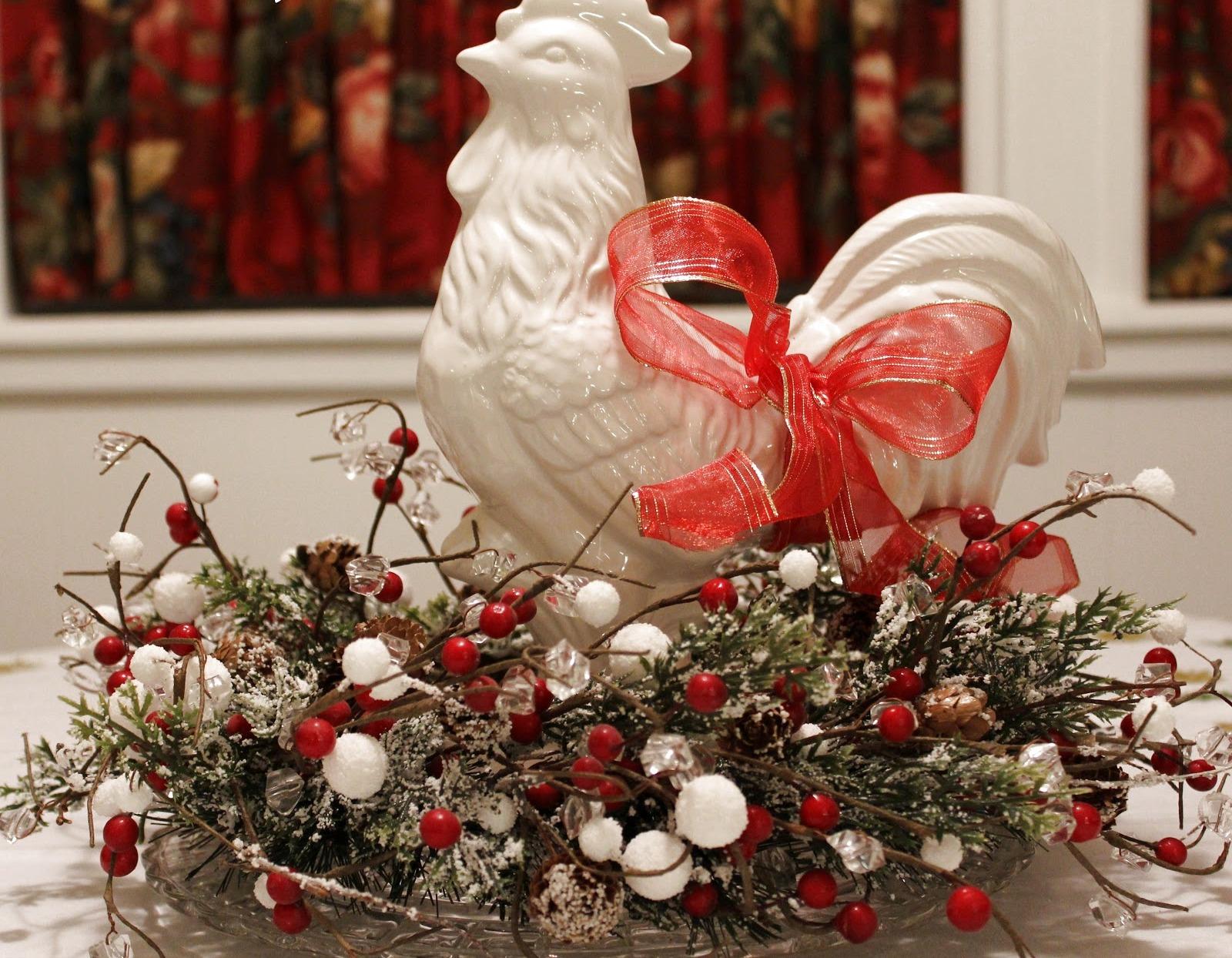 Красный новогодний петух 2017 в стиле прованс