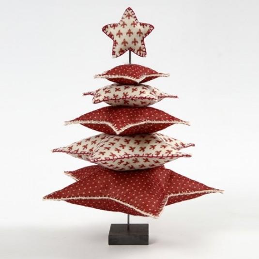Красная новогодняя елка из ткани – поделка своими руками
