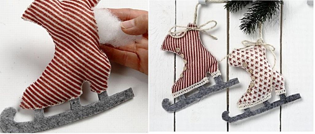 Новогодняя игрушка коньки своими руками