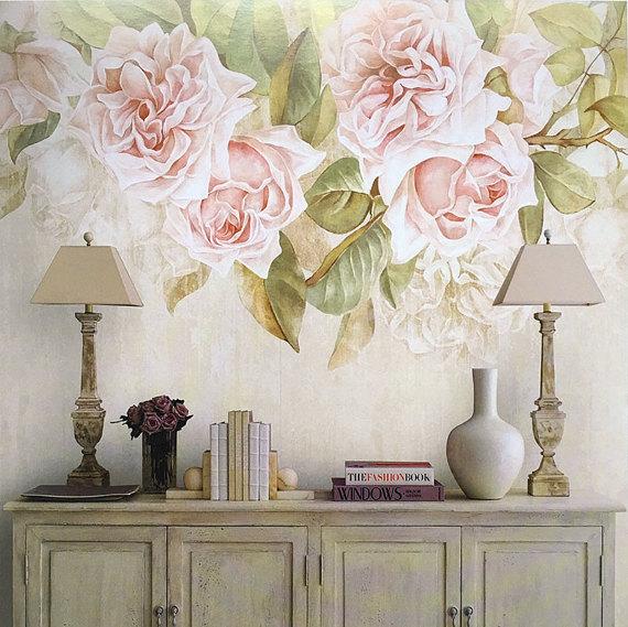Обои с крупными цветами в интерьере — 30 фото во французском стиле для отделки стен