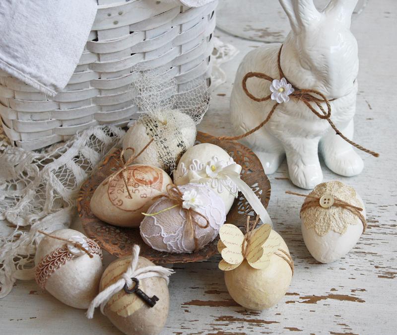 Праздничный пасхальный заяц в прованском интерьере